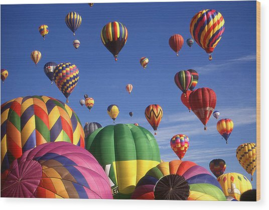 Beautiful Balloons On Blue Sky - Color Photo Wood Print