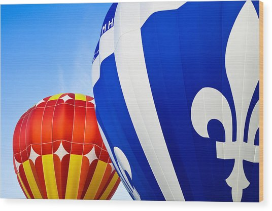 Hot Air Balloons Close-up Wood Print