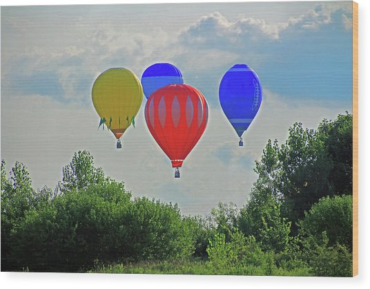 Wood Print featuring the photograph Hot Air Balloons In The Sky by Angela Murdock