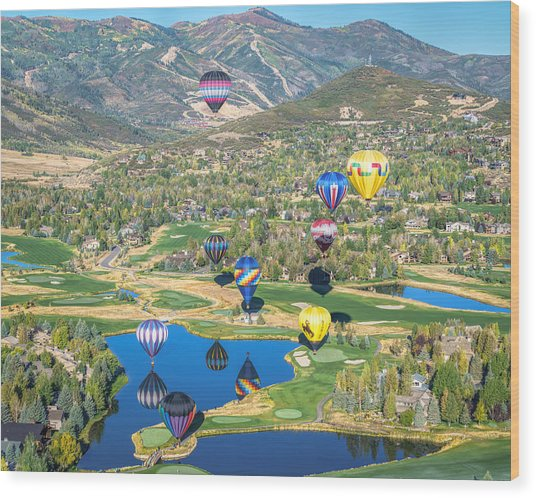 Hot Air Balloons Over Park City Wood Print