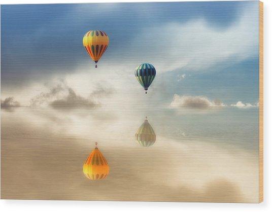 Hot Air Balloons Water Reflections Wood Print