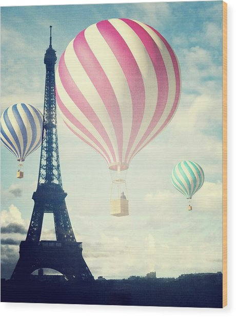 Hot Air Balloons In Paris Wood Print