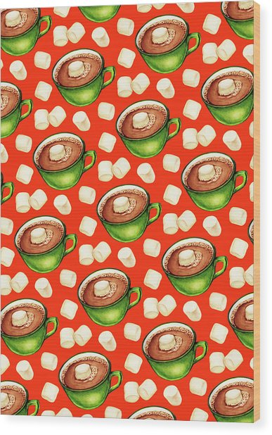 Hot Cocoa Pattern Wood Print