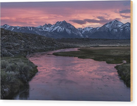 Hot Creek Sunset Wood Print