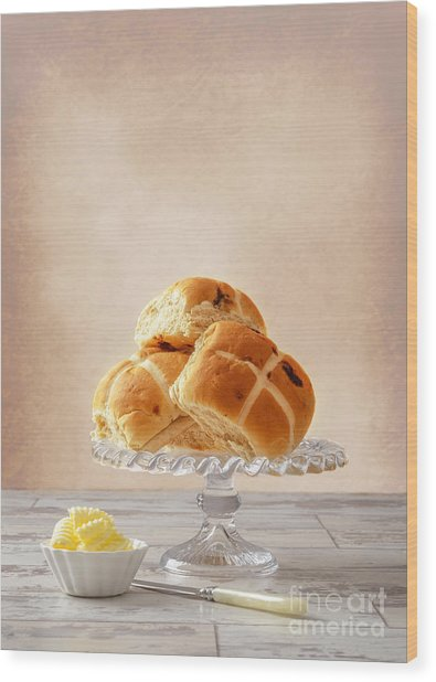 Hot Cross Buns With Butter Wood Print