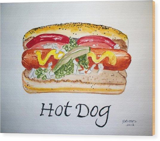 Hot Dog Wood Print