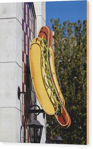 Hot Dogs Wood Print