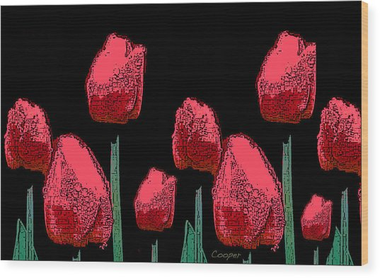 Hot Red Tulips Wood Print