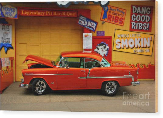 Hot Rod Bbq Wood Print