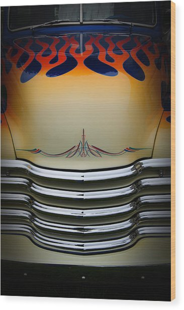 Hot Rod Truck Hood Wood Print