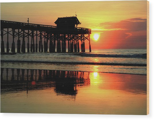 Hot Sunrise Over Cocoa Beach Pier  Wood Print