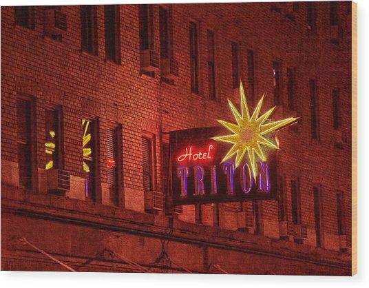 Hotel Triton Neon Sign Wood Print