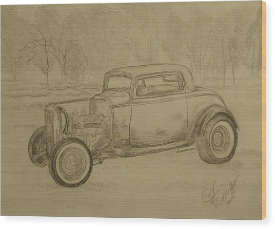 Hotrod 1934 Ford Coupe Wood Print by Cary Singewald