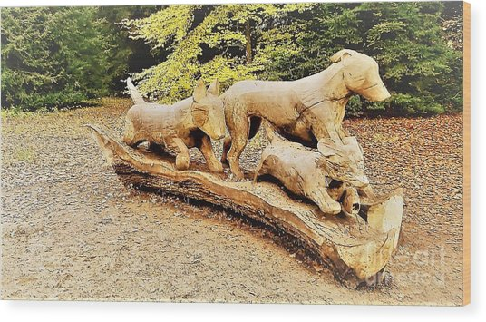 Hounds On The Run Wood Print