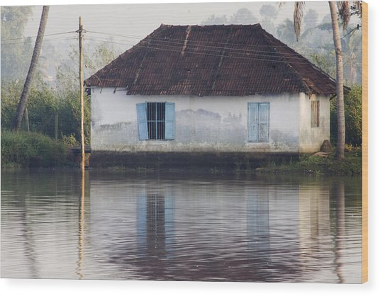 House Along The Kerala Backwaters Wood Print by Andrew Soundarajan