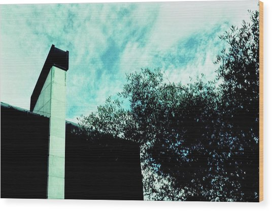 House And Sky Wood Print