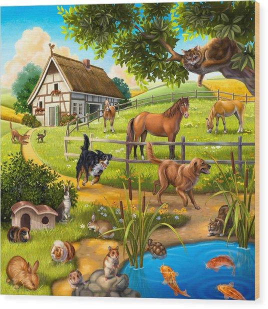 House Animals Wood Print