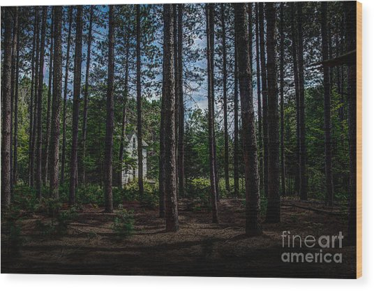 House In The Pines Wood Print