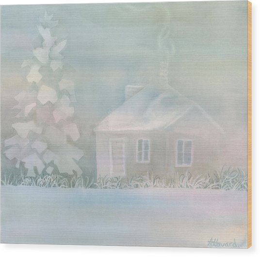 House Of Snow And Fog Wood Print