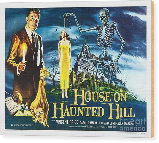 House On Haunted Hill Poster Classic Horror Movie  Wood Print