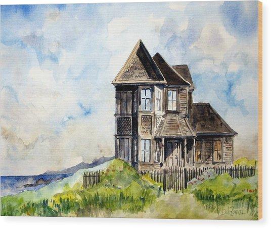 House On Little Lake Street Mendocino Wood Print