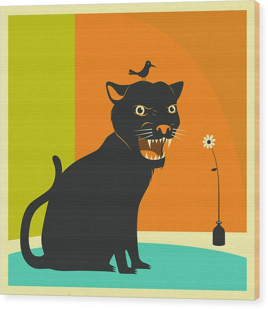 House Panther Wood Print