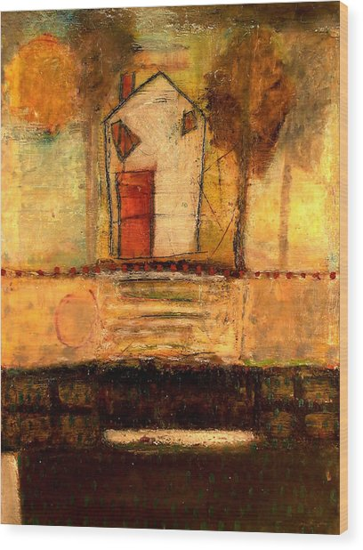 House With Red Door Large Image Wood Print by Lynn Bregman-Blass