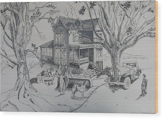 House Years Past Wood Print by Joan Taylor-Sullivant