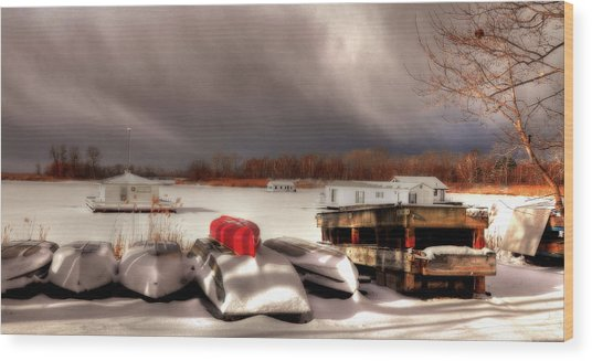 Houseboats In Winter Wood Print by Brian Fisher