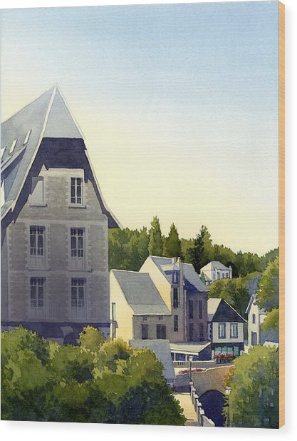 Houses At Murol Wood Print