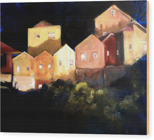 Houses At Sunset Wood Print by Paula Strother