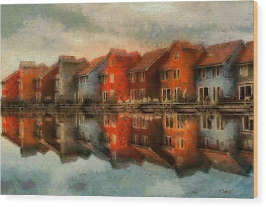 Houses By The Sea Wood Print