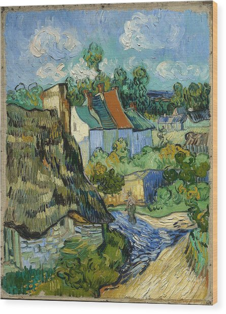 Wood Print featuring the painting Houses In Auvers by Van Gogh