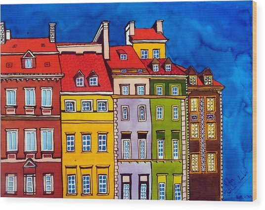 Houses In The Oldtown Of Warsaw Wood Print