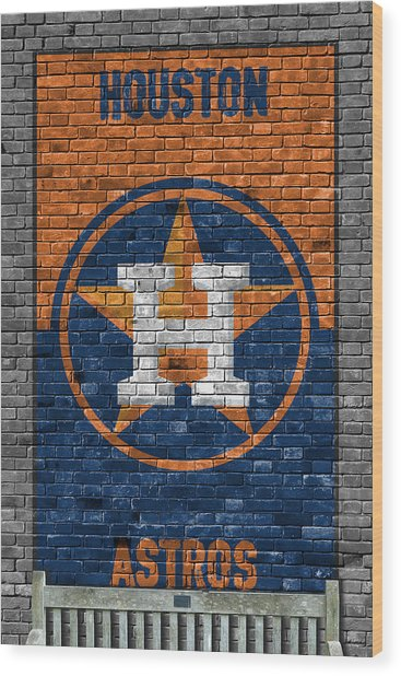 Houston Astros Brick Wall Wood Print