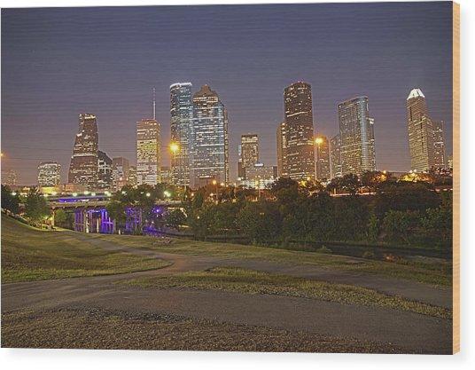 Houston Cityscape1 Wood Print