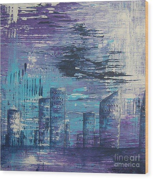 Houston Skyline 2 Wood Print