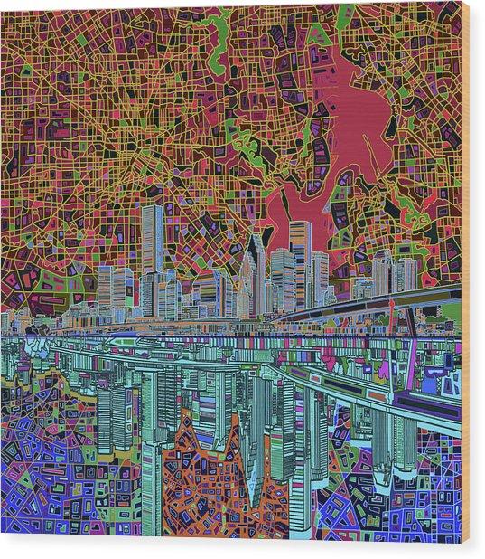 Houston Skyline Abstract 3 Wood Print