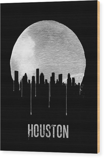 Houston Skyline Black Wood Print