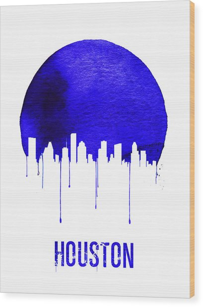 Houston Skyline Blue Wood Print