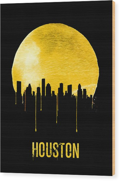 Houston Skyline Yellow Wood Print