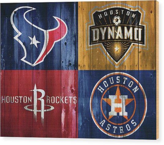 Houston Sports Teams Barn Door Wood Print