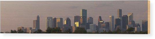 Houston Sunset Wood Print