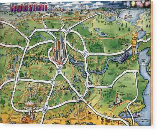 Houston Texas Cartoon Map Wood Print