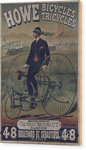 Howe Bicycles Tricycles Vintage Cycle Poster Wood Print
