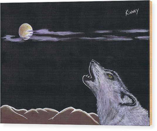 Howling At The Moon Wood Print by Jay Kinney