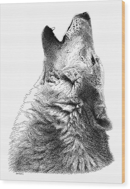 Howling Timber Wolf Wood Print