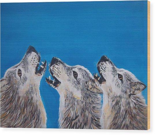 Howling Trio Wood Print