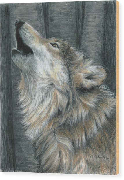 Howling Wolf Wood Print by Carla Kurt