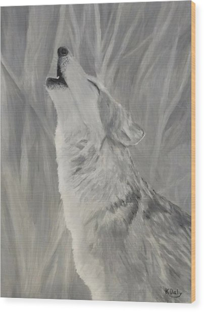 Wood Print featuring the painting Howling Wolf by Kevin Daly